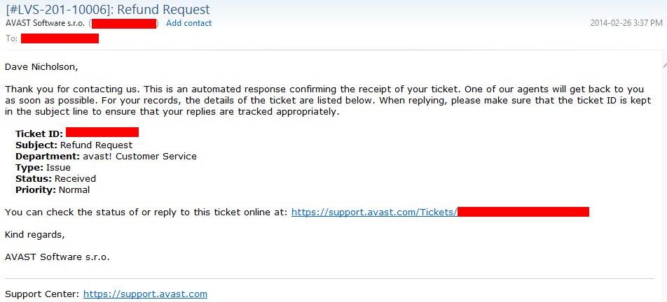 avast refund request