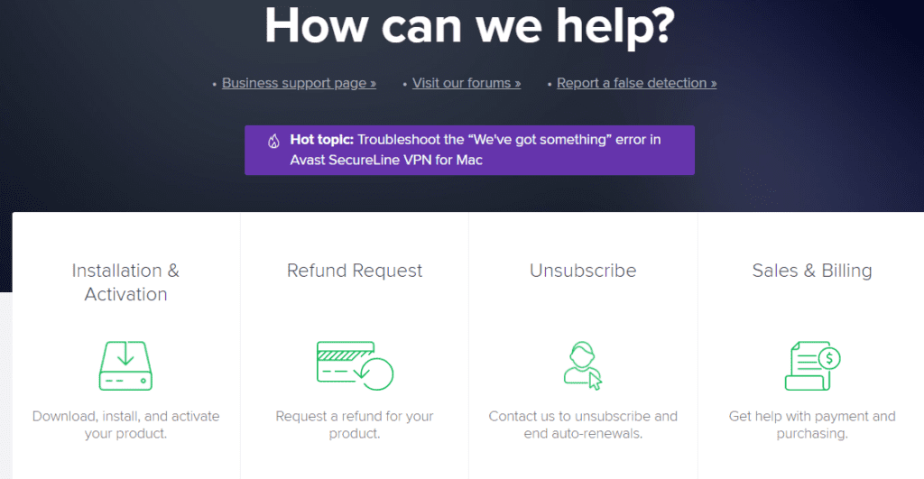 contact avast support